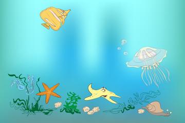 Underwater world: fish, shell, sea horses, starfish, snail, jell
