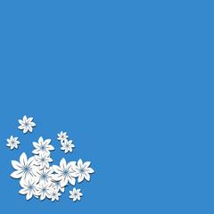 Blauer Hintergrund mit Blumen