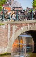 Dutch bicycles on a bridge