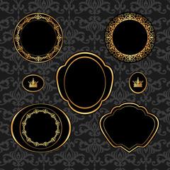 Set of vintage golden frames on gray damask background