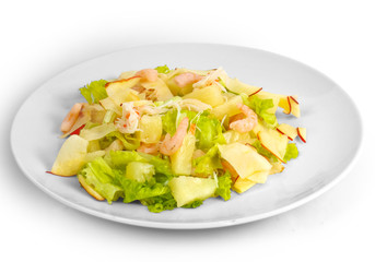 apples shrimp salad isolated a on white background