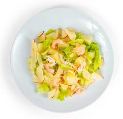 apples shrimp salad isolated on white background