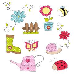 Garden doodle elements