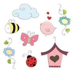 Spring doodle elements