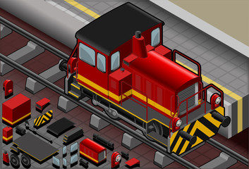 Isometric Red Train in Front View