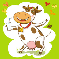 Happy Cow And Milk.