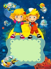 Tuinposter Kosmos The group of happy preschool kids