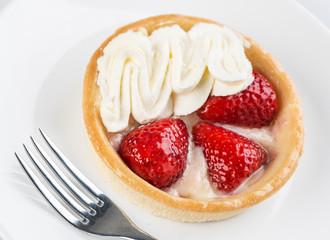 Strawberry Fruit Tart with cream