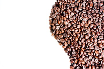 wave of coffee beans with space for text