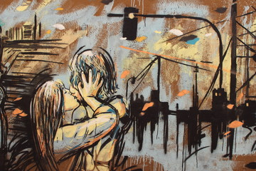Kiss, graffiti on Rome's wall