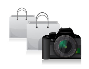 camera and shopping bags