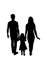Silhouette family, woman, man, baby girl. Loving people holding