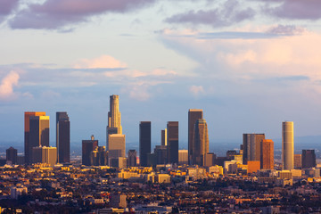 In de dag Los Angeles Los Angeles downtown at sunset