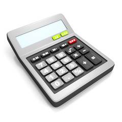 grey calculator on a white background