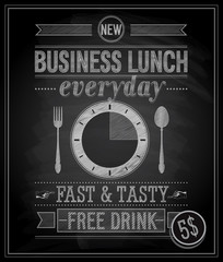 Wall Mural - Vintage Bussiness Lunch Poster. Vector illustration.