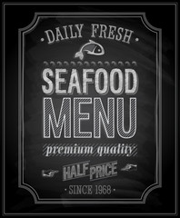 Wall Mural - SeaFood Poster - Chalkboard. Vector illustration.