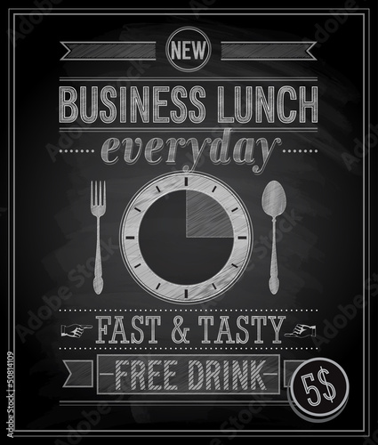 Wall mural Vintage Bussiness Lunch Poster. Vector illustration.