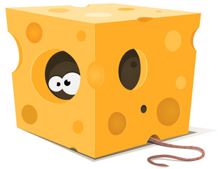 Mouse Eyes Inside Piece Of Cheese