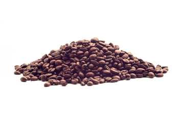 a handful of hot roasted coffee beans isolated on white