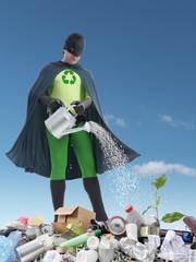 Eco superhero and green plantlet