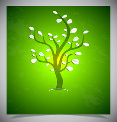 Abstract tree on green background.