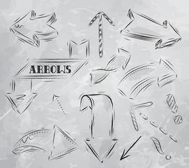 Arrow stylized drawing in charcoal on board