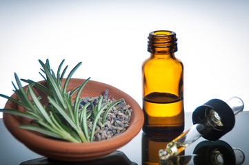 essential oil with lavender and rosemary