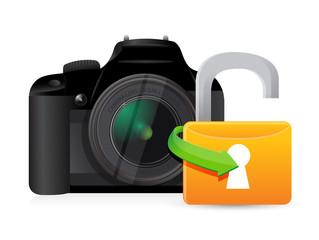 camera unlock illustration graphic design
