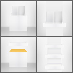 Three white shelves inside a house, isolated white book