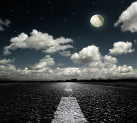 Poster Full moon asphalted road clouds and moon