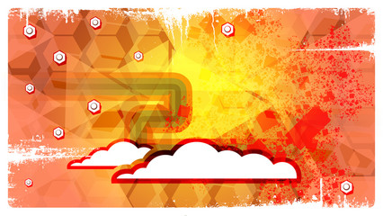Abstract eps10 Retro Background with clouds
