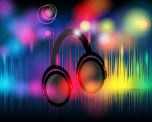 Music background with glittering rainbow lights