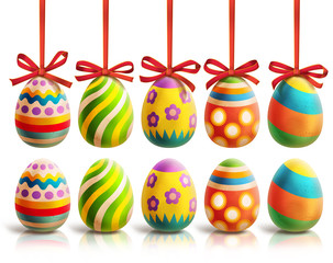 Colored Easter Eggs - illustration with eggs in two variants