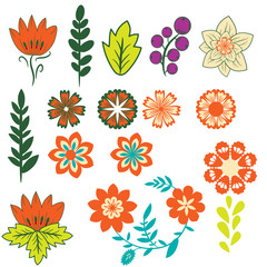 Decorative flowers and leaves collection