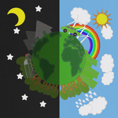 Ecology day and night concept with stitch style on fabric backgr