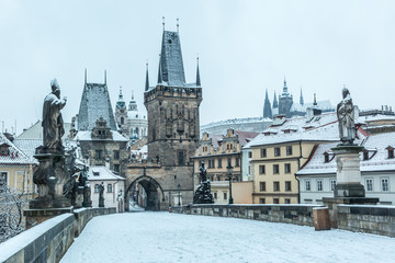 Wall Murals Prague Snow Covered Charles Bridge in Prague