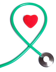 Red heart and green stethoscope isolated