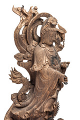 Statue of Guan Yin, Chinese Female God made of ancient wood