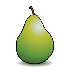 Healthy green pear with cartoon outline.