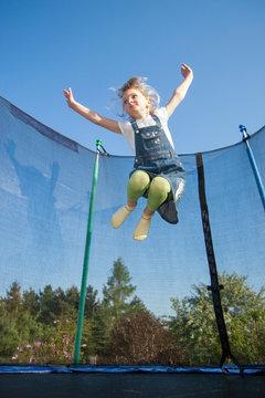 mädchen, kind, trampolin, springen, child, jumping