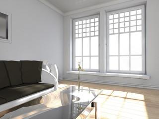 Wohndesign - Wohnzimmer in weiss
