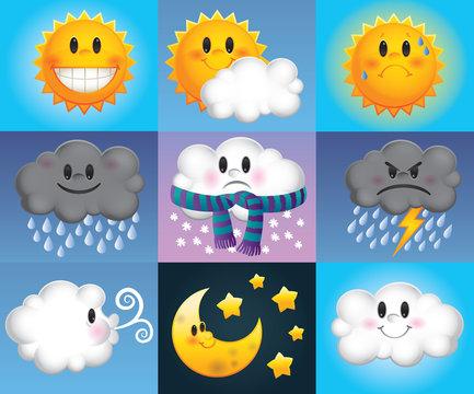 Cute cartoon weather symbols