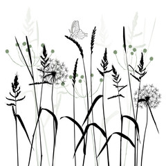 The Meadow In Summertime, plant vector