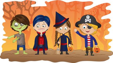 Children dressed in Halloween fancy dress