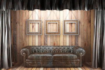 black silk curtain with frames on stage