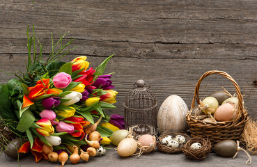 vintage easter decoration with eggs and tulips