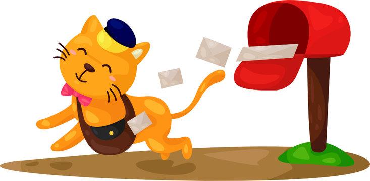 cartoon cat postman