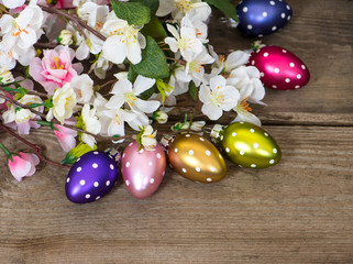 spring blossoms and easter eggs decoration