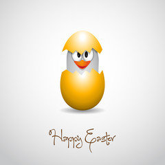 Happy easter - Funny hatching chick - vector card