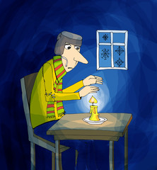 Man warming hands with candle, cartoon
